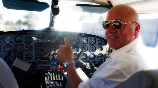 Robert on flight to Key West Florida.